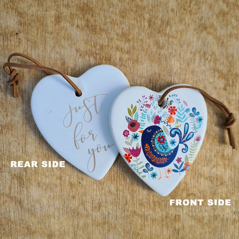 Hanging Heart Bird Ornament - Just For You