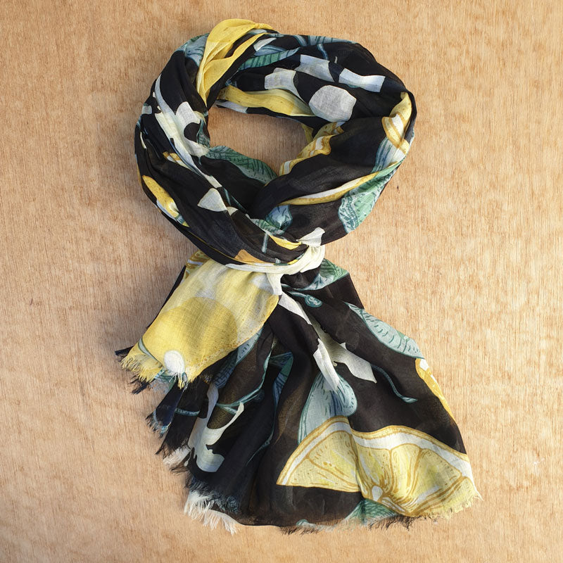 Black and Yellow Cotton Scarf
