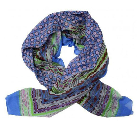 Blue Anokhi Print Cotton Scarf - The Chic Nest
