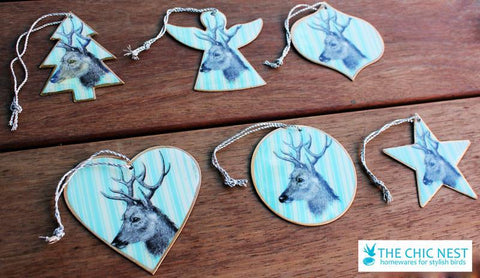 Blue Deer Round Ornament - The Chic Nest