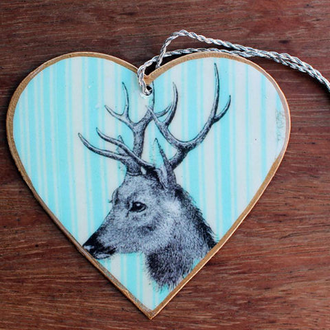 Blue Deer Heart Ornament - The Chic Nest