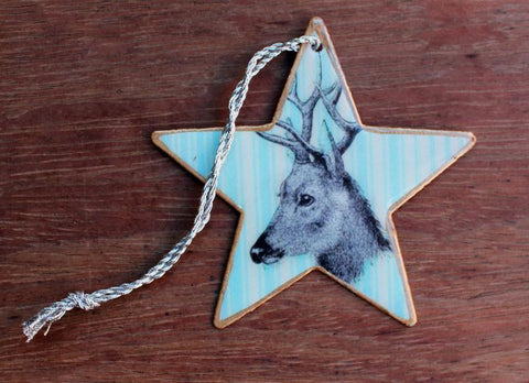 Blue Deer Star Ornament - The Chic Nest