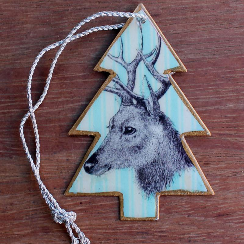Blue Deer Christmas Tree Ornament - The Chic Nest