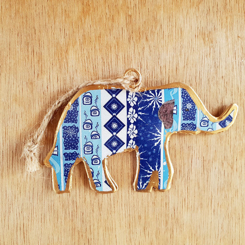Floral Blue Elephant Ornament - The Chic Nest