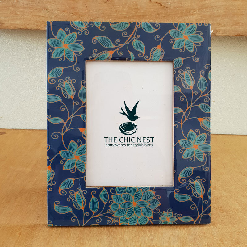 Blue Floral Glass Photo Frame - 5 x 7 - The Chic Nest