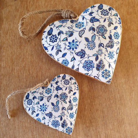 Blue Floral Metal Heart Ornament - Extra Large - The Chic Nest