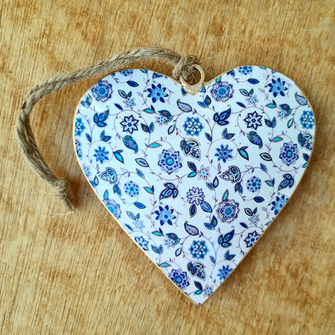 Blue Metal Heart Ornament