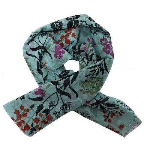 Blue Floral Scarf - Cotton