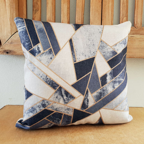 Blue Geo Cushion - Linen - The Chic Nest