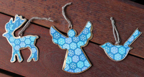 Blue Snowflake Angel Ornament - The Chic Nest