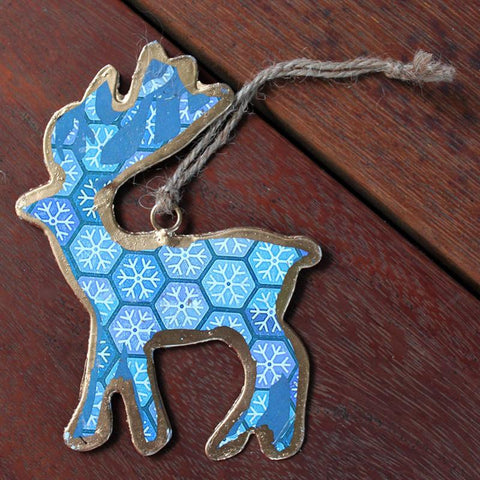 Blue Snowflake Deer Ornament - The Chic Nest