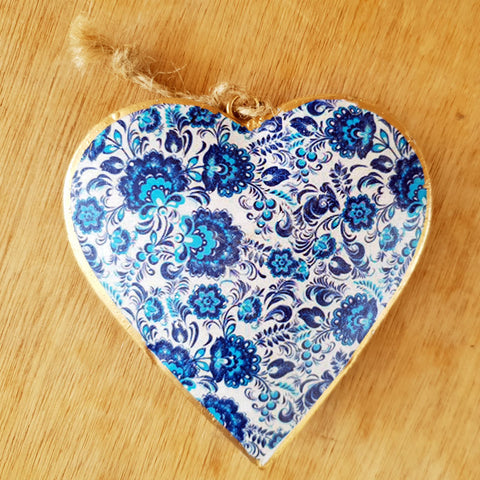 Blue Metal Heart Ornament - The Chic Nest