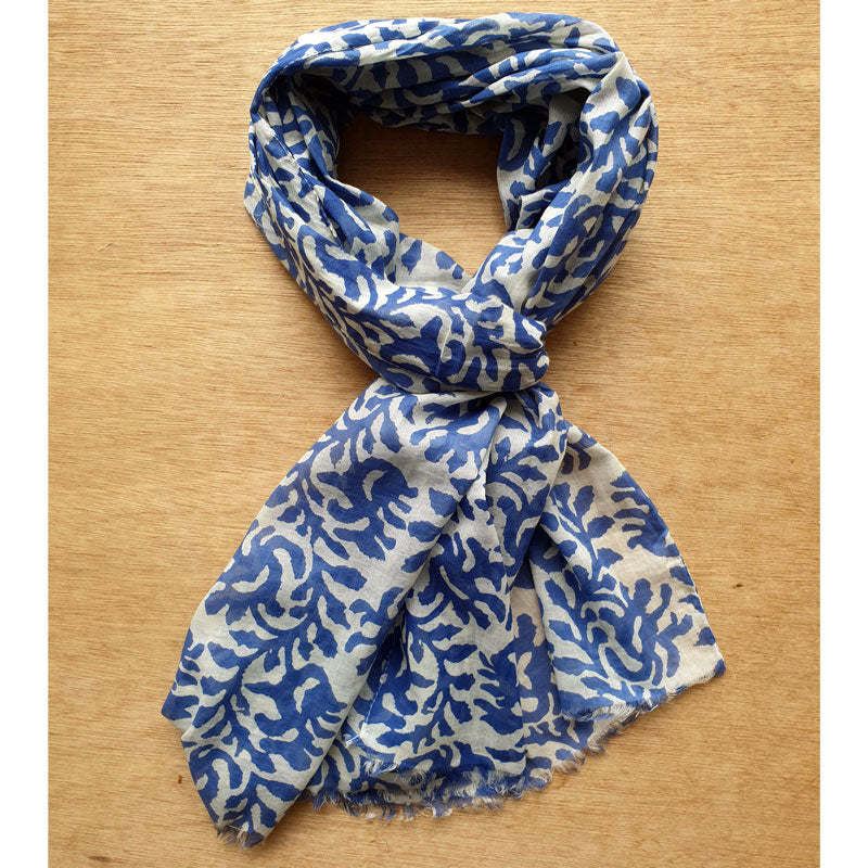 Blue Coral Patterned Scarf - The Chic Nest