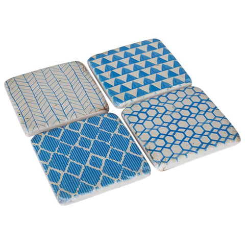 Blue Patterned Set of 4 Coasters