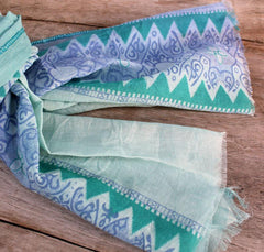 Blue & Teal Patterned Scarf - The Chic Nest