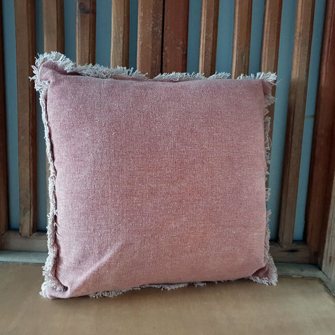 Dusty Pink Fringed Cushion - The Chic Nest