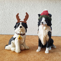Border Collie With Beanie Christmas Figurine - The Chic Nest