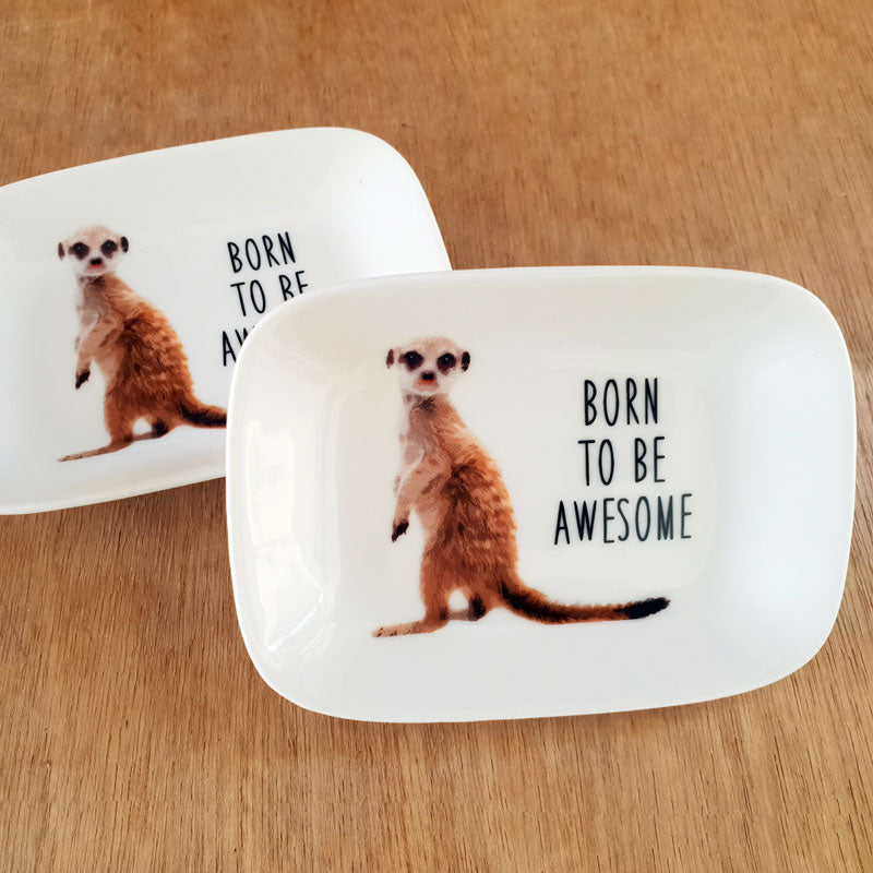 Born To Be Awesome Meerkat Trinket Dish - The Chic Nest