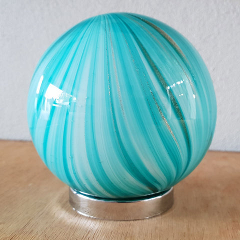 Mother Friendship Ball Bright Aqua Gold Shimmer