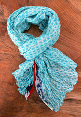 Bright Aqua Patterned Scarf - The Chic Nest