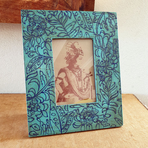 Bright Blue Patterned Photo Frame