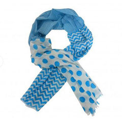 Bright Blue Spots and Stripes Scarf - The Chic Nest
