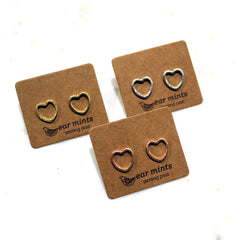 Brushed Metal Cut Out Heart Ear Mints Earrings - Gold