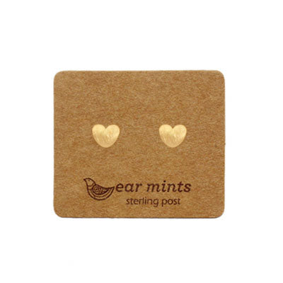Brushed Metal Puffed Heart Ear Mints Earrings - Gold - The Chic Nest