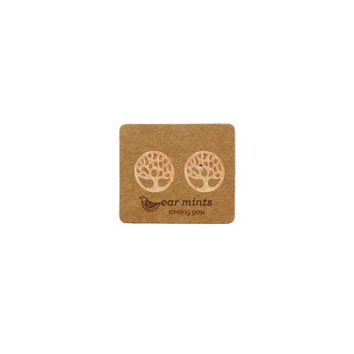 Brushed Metal Tree of Life Ear Mints Earrings - Rose Gold
