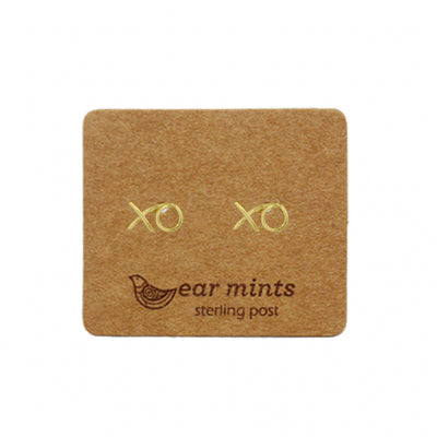 Brushed Metal Naughts and Crosses Ear Mints Earrings - Gold