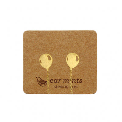 Brushed Metal Balloon Ear Mints Earrings - Gold