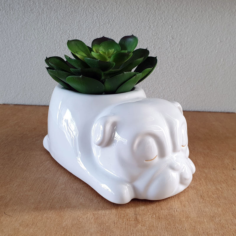 Bulldog Sleeping Planter - White - The Chic Nest