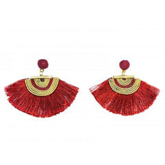 Fan Tassel Earrings - Burgundy - The Chic Nest
