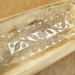 Carved Wooden Tray - Handmade - The Chic Nest