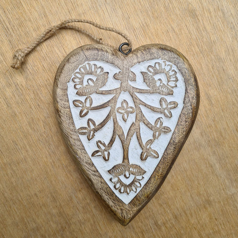 Carved Wooden Hanging Heart - Large