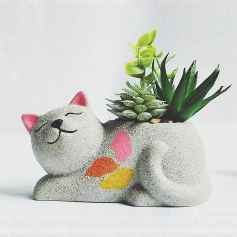 Ceramic Cat Planter With Succulents