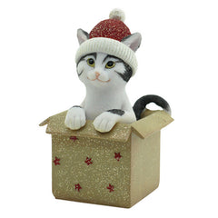 Jingle Cat In A Present  - Red - The Chic Nest
