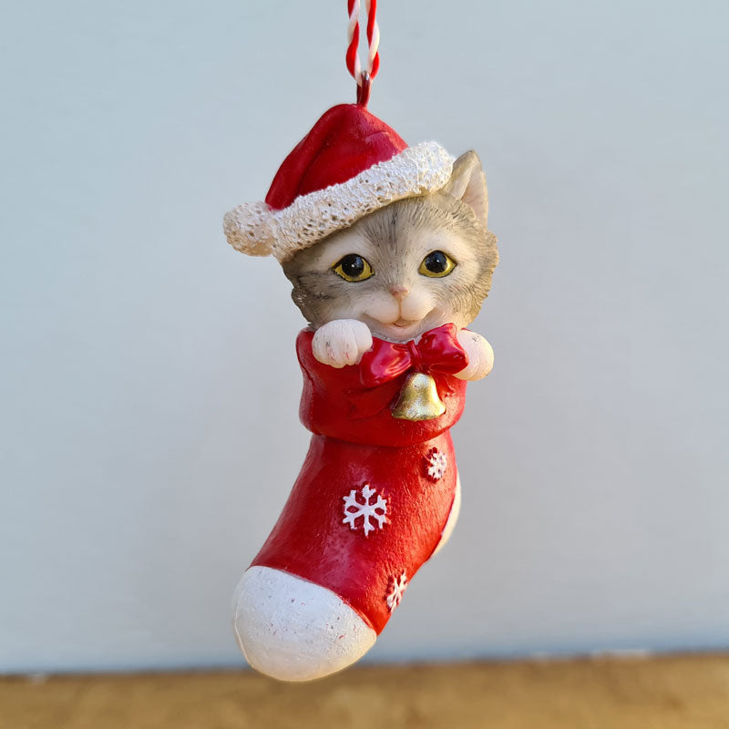 Hanging Cat In Stocking Christmas Ornament