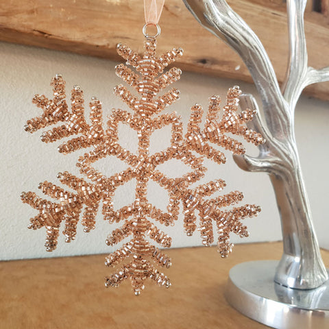 Beaded Snowflake Ornament - The Chic Nest