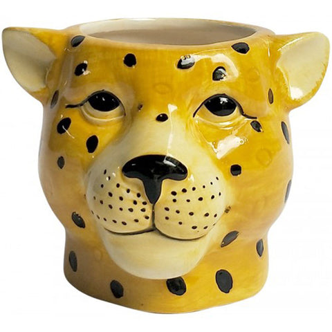 Cheetah Head Ceramic Planter