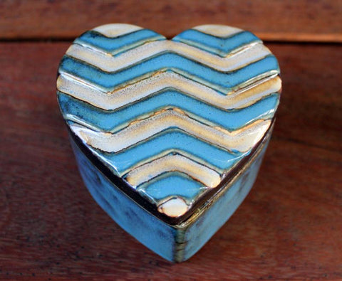 Chevron Trinket Box - Blue - The Chic Nest