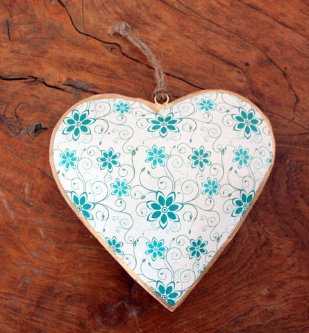 Heart Ornament Teal - Large - The Chic Nest