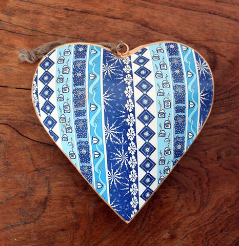 Heart Ornament Blue - Large - The Chic Nest