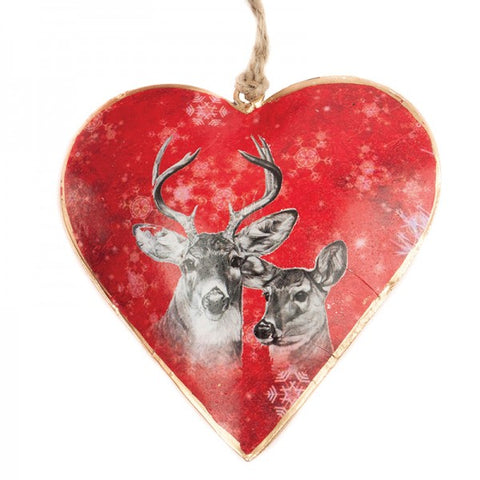 Red Deer Heart Christmas Ornament