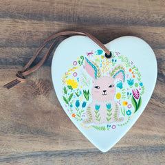 Hanging Heart Bunny Ornament - Hippity Hop