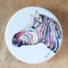 Colourful Zebra Coaster - The Chic Nest