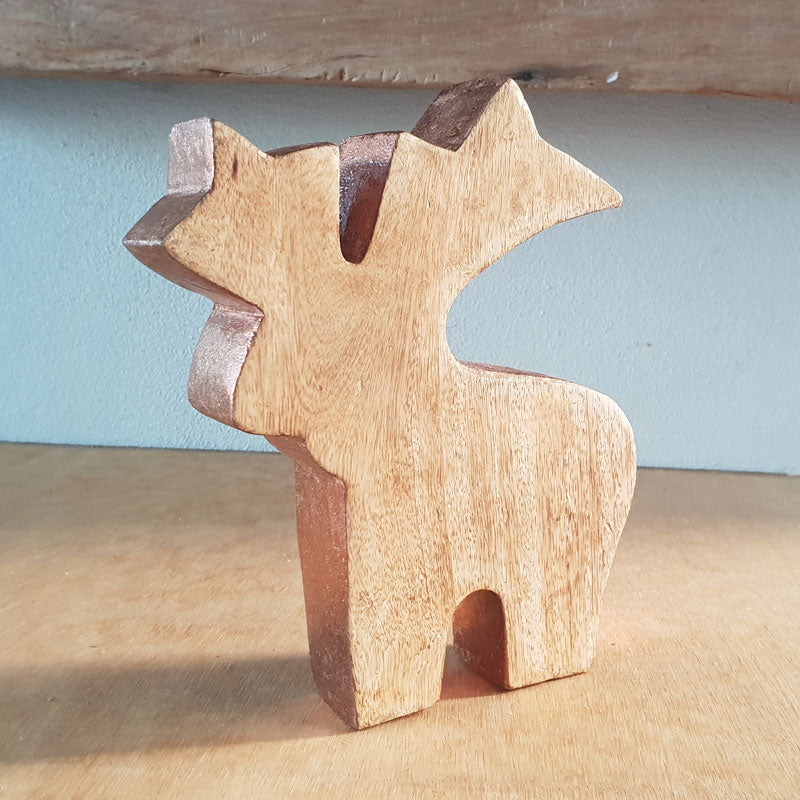 Copper Edge Wooden Reindeer - The Chic Nest