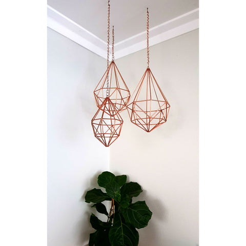 Copper Faceted Hanging Diamond - Small