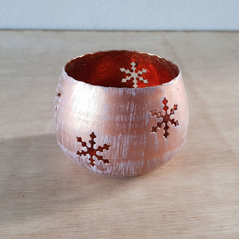 Copper Snowflake Votive