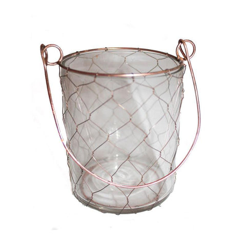 Handcrafted Glass & Wire Votive - Large